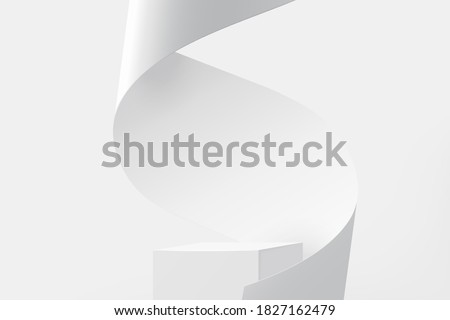 3D pedestal podium with white paper swirl flow on white studio background, product display stage in 3d illustration