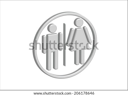 3D Pictogram Man Woman Sign icons, toilet sign or restroom icon #206178646