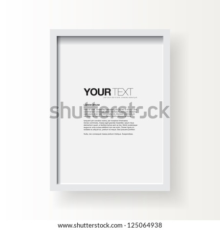 3D picture frame design vector for A4 image or text #125064938