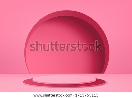 3d Pink abstract geometric background vector. Bright pastel podium or pedestal backdrop. Blank minimal design.  Empty 3D Pink pedestal winner. Stage for awards ceremony on website in modern.3D render