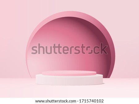 3d Pink abstract geometric pedestal background vector. Bright pastel podium or pedestal backdrop minimal design. 3D Pink pedestal winner. Stage for awards ceremony on pedestal in modern.3D rendering