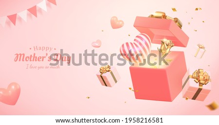 3d pink banner background for Mother's day and Valentine's Day. Composition design with open gift box, heart shape and golden rose.