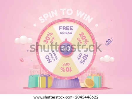 3d pink fortune spinning wheel for online promotion events. Concept of winning the biggest discount as jackpot prize. ストックフォト ©