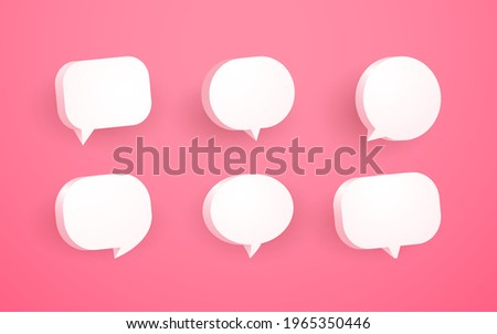 3d pink speech bubble chat icon collection set poster and sticker concept Banner