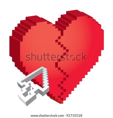 3d pixel broken heart with arrow
