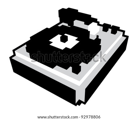 3D pixel cartoon style turntable in black and white