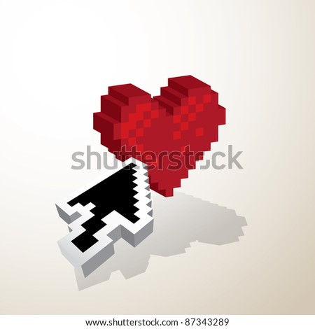 3D Pixel red heart wirh mouse pointer - illustration