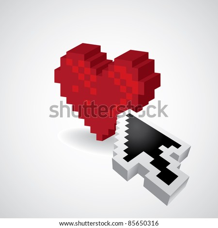 3D Pixel red heart with arrow - illustration