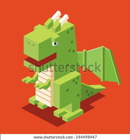 3d pixelate dragon isometric