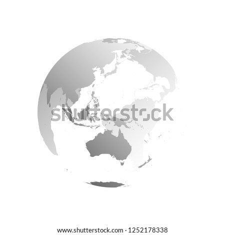 3D planet Earth globe. Transparent sphere with grey land silhouettes. Focused on Australia and Oceania.