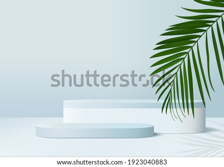 3d platform background products display podium scene with palm leaf summer platform. background display 3d rendering with podium. stand to show cosmetic products. summer palm pedestal display blue 3d