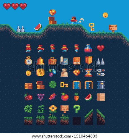 2d Platformer set for pixel art style game, isolated vector. 8 Bit  cartoon game background, mobile game assets. Adventure arcade quest gameplay scene with ground, grass, sky, coin, hearts, character.