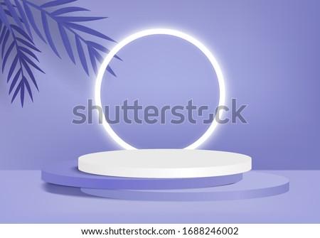 3D podium product render vector of purple light background or texture. Light pastel podium or pedestal backdrop. 3d minimal platform concept. Stage for product ceremony  in purple background render