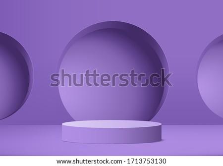 3D podium render vector of purple geometric background or texture. Bright pastel podium or pedestal backdrop. Blank minimal design concept. Stage for ceremony on purple pedestal background 3d render