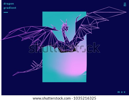Stock Photo 3d polygon illustration concept for augmented reality mobile application, gaming can make the dragon come to the reality world.