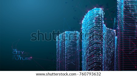 3d polygonal city  future