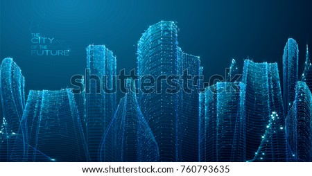 3d polygonal city  future