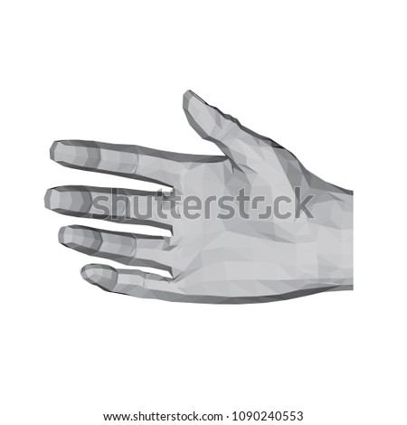 3d polygonal hand a relaxed