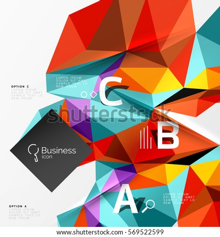 3d polygonal object triangles, abstract background. Vector template background for workflow layout, diagram, number options or web design