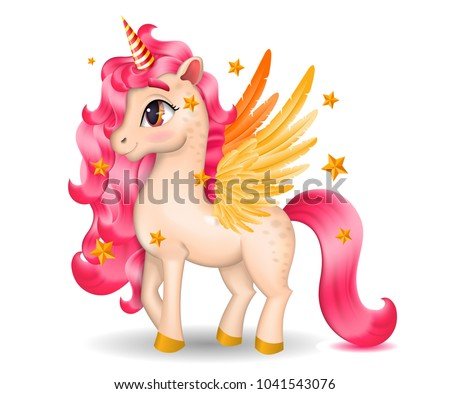 3d pony unicorn with big eyes