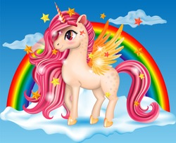 3D Pony Unicorn with Pink Jewel, Big Eyes and Golden Wings, Hooves on the Cloud with Rainbow, Multicolor, Long Hair (Mane, Tail), Striped Horn, Cartoon Character Hand Drawn Vector Illustration