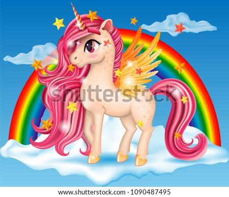 3d pony unicorn with pink jewel