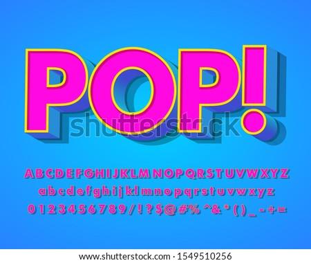 3D pop art style text effect with cool retro pop design, pop poster headline vector design