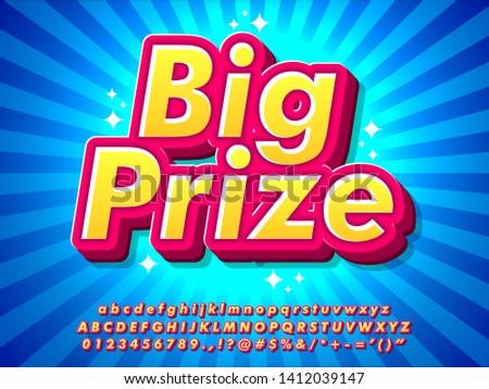 3d pop big prize text effect, colorful pop style text effect, cool retro pop design with sunburst background, pop poster headline vector design