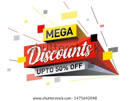 3D pop out Mega Discount Sale Logo design, Banner, Sticker, Concept, Card, Template, Icon, Poster, Unit, Label, Web Header, Mnemonic with rays on white background. Upto 50% off - Vector, Illustrations
