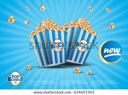 3D popcorn isolated on blue striped background. For web site,ads,poster,placard and promotion material. Also useful for flyer,banner,marketing on social network and blog advert
