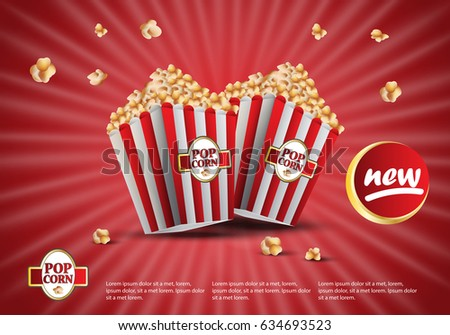 3D popcorn isolated on red striped background.For web site,ads,poster,placard and promotion material.Also useful for flyer,banner,marketing on social network and blog advert