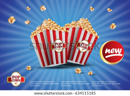 3D popcorn isolated on the blue striped background.For web site,ads,poster,placard and promotion material.Also useful for banner,marketing on social network and blog advert