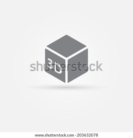 3D Print vector icon - 3d cube Printing symbol
