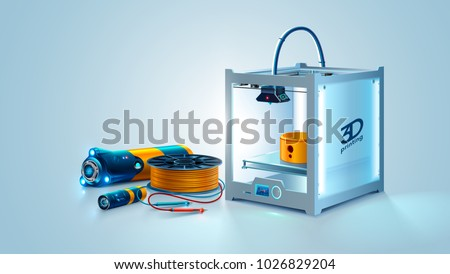 3d printer abstract model. Manufacturing prototype object on 3d printer. Filament plastic.Engineering development tools. Innovation Additive technology. Vector illustration on white background