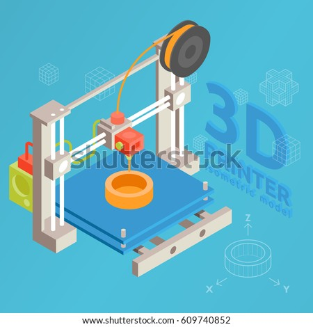 3d printer flat design style on colored background isometric vector graphic. 3D printing process of the device vector concept flat design. Technology manufacturing and prototype. Vector illustration