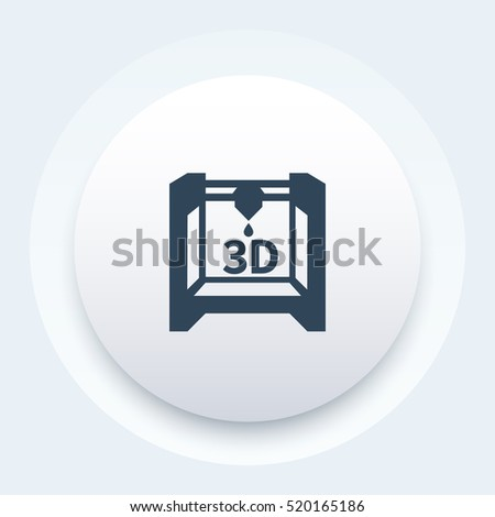 3d printer icon, additive manufacturing round pictogram, vector illustration