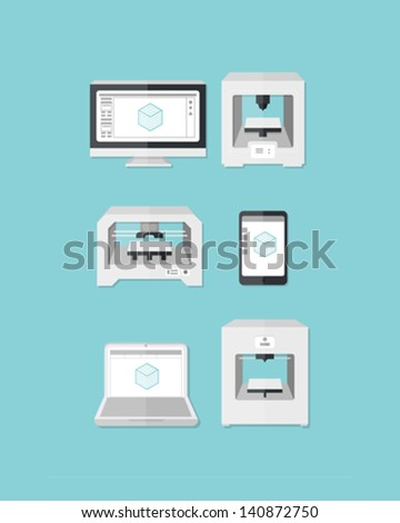 3D Printer Icons A 3D Printing icon set in blue, white and grays on a blue background. Additive manufacturing 3D printers next to a tablet, smart phone, and computer monitor showing 3d program.