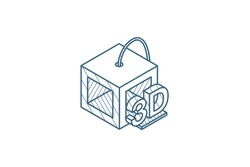 3D Printer isometric icon. 3d vector illustration. Isolated line art technical drawing. Editable stroke