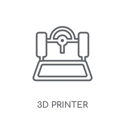 3d printer linear icon. Modern outline 3d printer logo concept on white background from Electronic Devices collection. Suitable for use on web apps, mobile apps and print media.