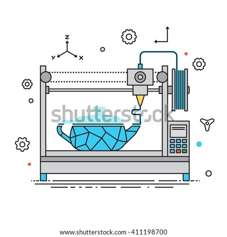 3D Printer liner design vector illustration. The printing process on the 3D printer Flat design with icon set - stock vector isolated on white background. 3D printer concept art vector flat