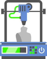3d printer. Print three dimensional model. Extruder technology. Printing in progress