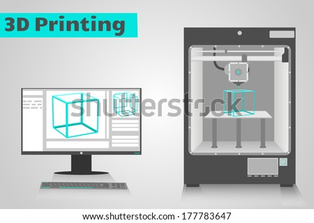 3d Printer Printing A Cyan Plastic Cube From Computer Lcd