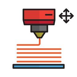 3D Printer Technology Line Icon