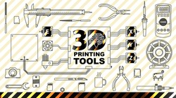 3d printing concept background Diy and repair. Set Collection tools. the engine, the coil filament, pliers, needle files, pliers, tester, soldering iron, calipers, hot end, hot bed, extruder and more.