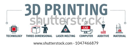 3D Printing concept rapid prototyping and additive manufacturing. Vector icons