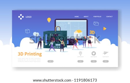 3D Printing Technology Landing Page. 3D Printer Equipment with Flat People Characters Website Template. Engineering and Prototyping Industry. Vector illustration