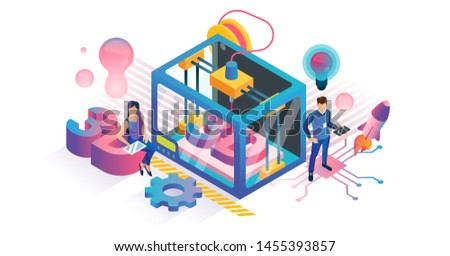 3D printing vector illustration. Isometric plastic product DIY technology concept. Polymer texture model manufacturing prototype. Digital equipment for innovative three dimensional work construction.