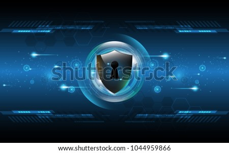 3D Protected guard shield security concept Security cyber digital Abstract technology background protect system innovation concept  vector illustration