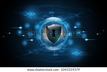 3D Protected guard shield security concept Security cyber digital with Social Global network  mix media Abstract technology background protect system innovation concept  vector illustration