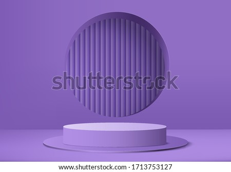 3D purple product podium on background vector. Abstract minimal geometry pedestal violet concept. Studio stand platform. Podium and business marketing present stage. 3D podium violet render vector